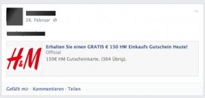 Screenshot H&M Gutschein